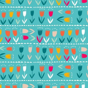 lined up tulips // turquoise // medium scale
