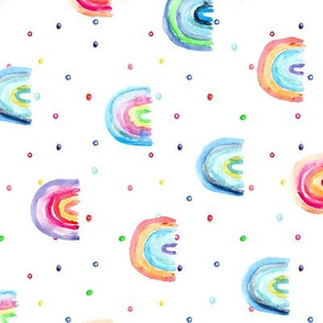 Rainbow baby dreams - rotated - watercolor rainbows with dots for modern nursery
