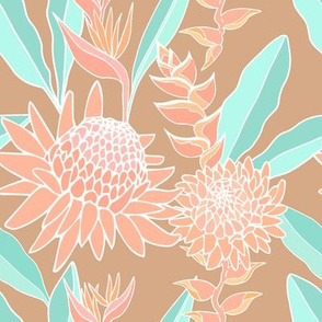 Coral bouquet on light tan