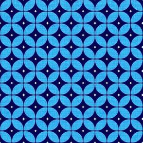 1950s starburst // Mid Century Atomic blue
