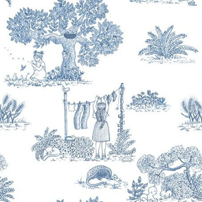 family in countryside toile blu