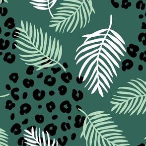 Summer palm leaves and wild cat leopard spots jungle print nursery kids green neutral boys