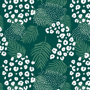 Summer palm leaves and wild cat leopard spots jungle print nursery kids emerald green night forest