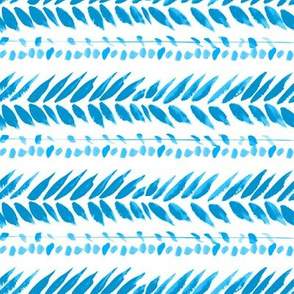 turquoise and white small leaf stripe