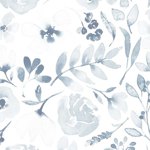 Faded floral Watercolor floral in barelyblue