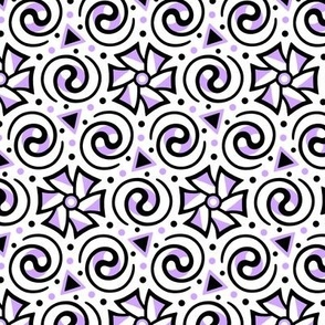Purple, Black and White Geometric Swirl Pattern