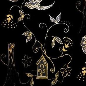 Mythical Art Nouveau Gold & Black Bird Garden -  Toile Style Design