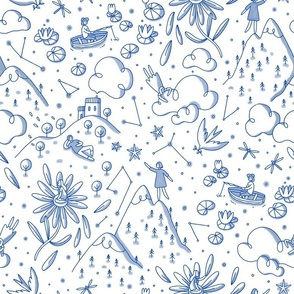 Little people in magic land, toile style modern pattern