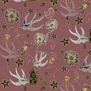Whimsical Gold Bird Garden Toile With Gold Detail On Aubergine -
