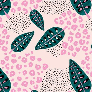 Jungle leaves boho summer tropical maranta prayer plant and leopard panther spots pink teal