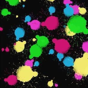 Nineties Neon Paint Splatter Small