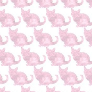 Pink Watercolor Cats on White