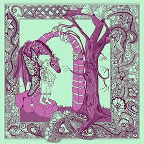 Boy and Dragon-toile pink