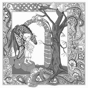 Boy and Dragon-toile grey scale