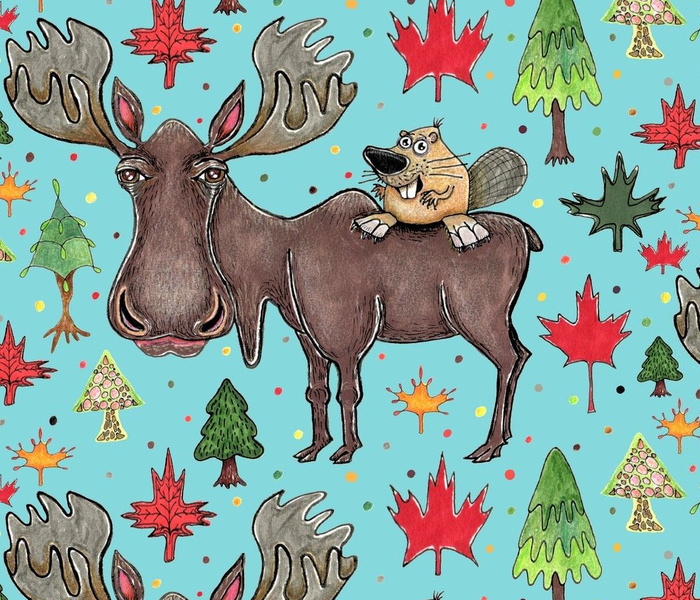 Canada Canadian wildlife moose and beaver, jumbo large scale, aqua blue green red yellow brown gray orange trees maple leaf