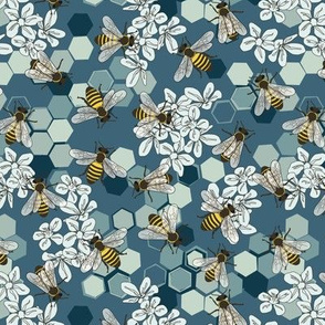 Save The Honey Bees Teal - Blue - Small