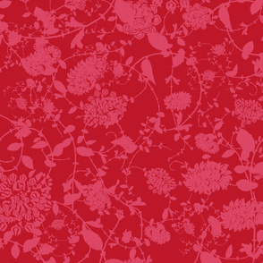 Pink on Red Flower Chintz