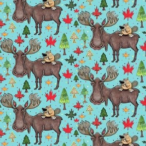 Canada Canadian wildlife moose and beaver, small scale, aqua blue green red yellow brown gray orange trees maple leaf