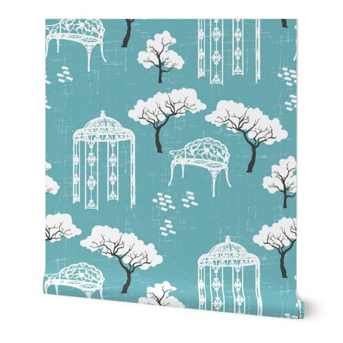 Vintage Toile gazebo garden modern blue turquoise Wallpaper Fabric