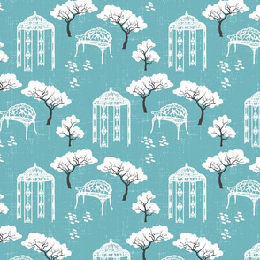 Modern Toile gazebo vintage garden blue Fabric