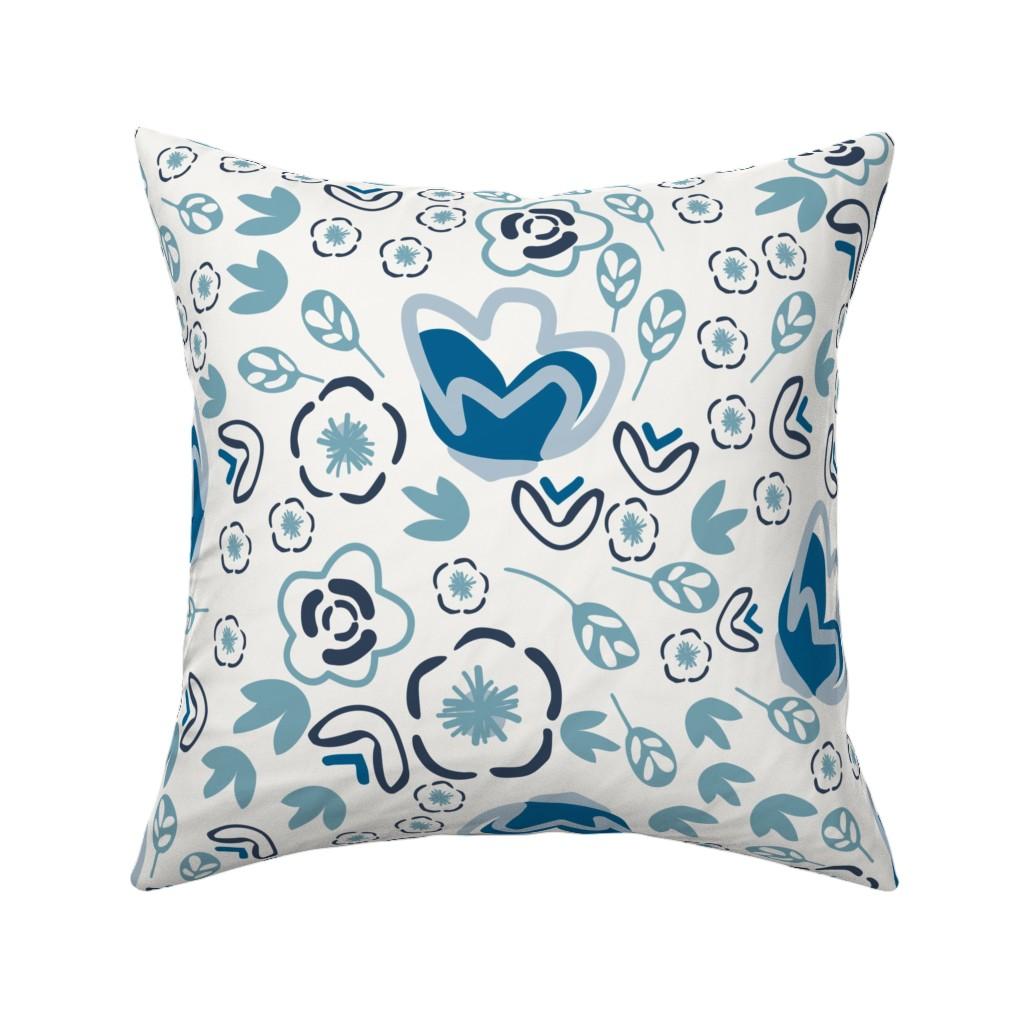 Catalan Throw Pillow featuring Indigo Floral by jillianhelvey
