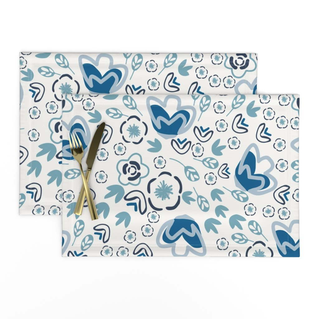 Lamona Cloth Placemats featuring Indigo Floral by jillianhelvey