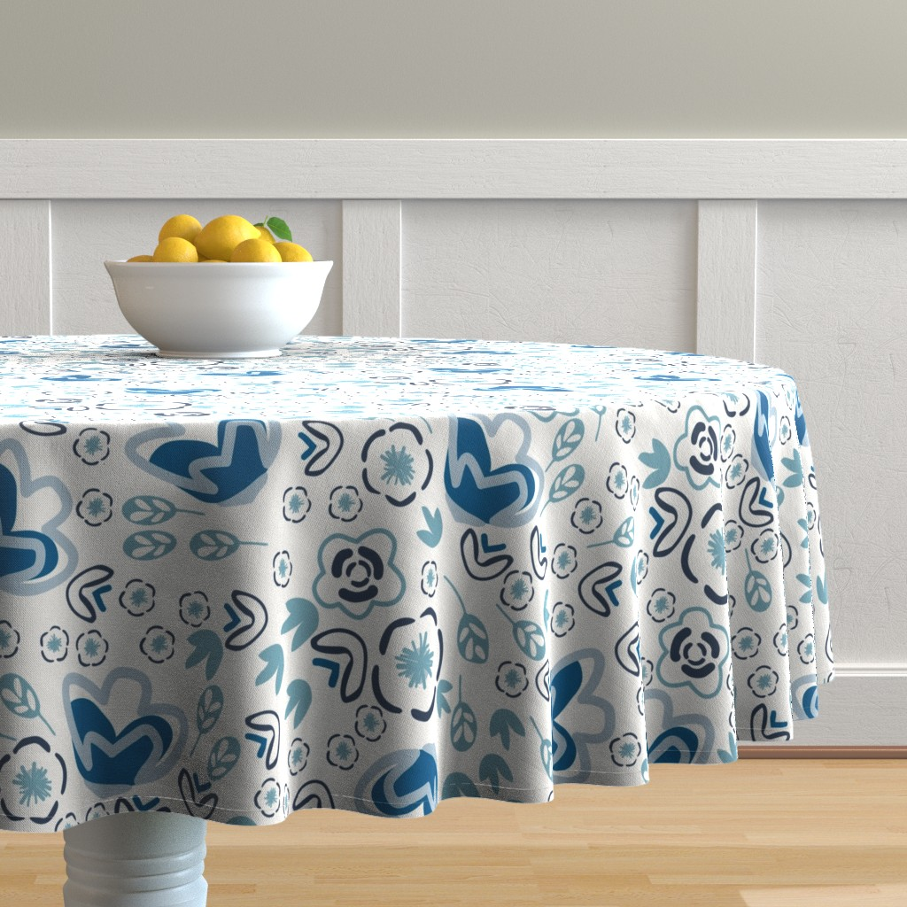 Malay Round Tablecloth featuring Indigo Floral by jillianhelvey