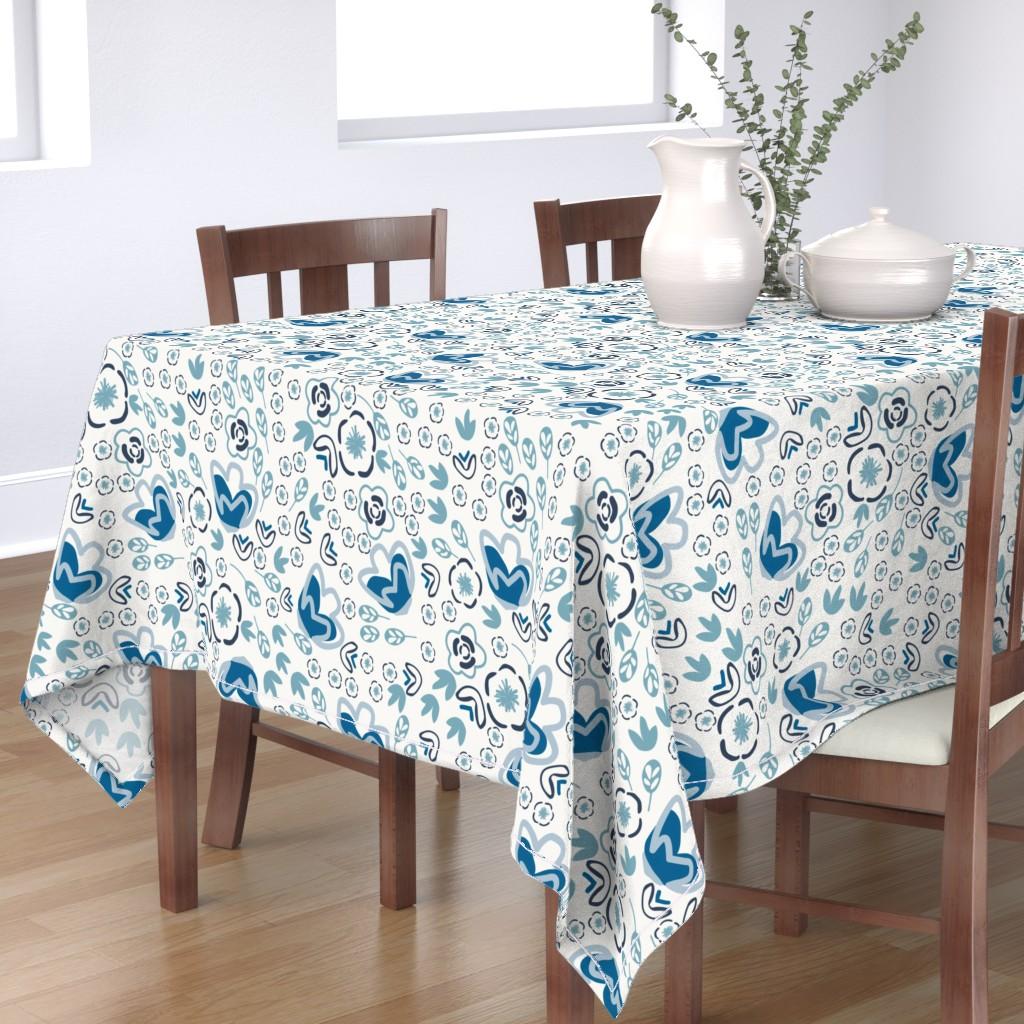Bantam Rectangular Tablecloth featuring Indigo Floral by jillianhelvey