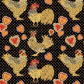 Chicken Noodle with Hearts and Dots on Black
