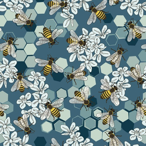 Save The Honey Bees Teal - Blue - Large