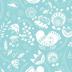 Birdie toile light teal INV