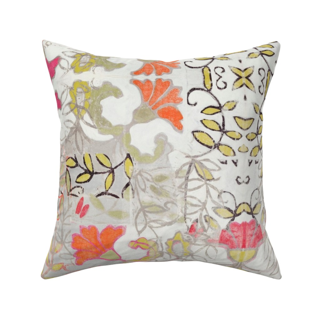 Catalan Throw Pillow featuring Orange and Berry Bouquet by maria_pezzano