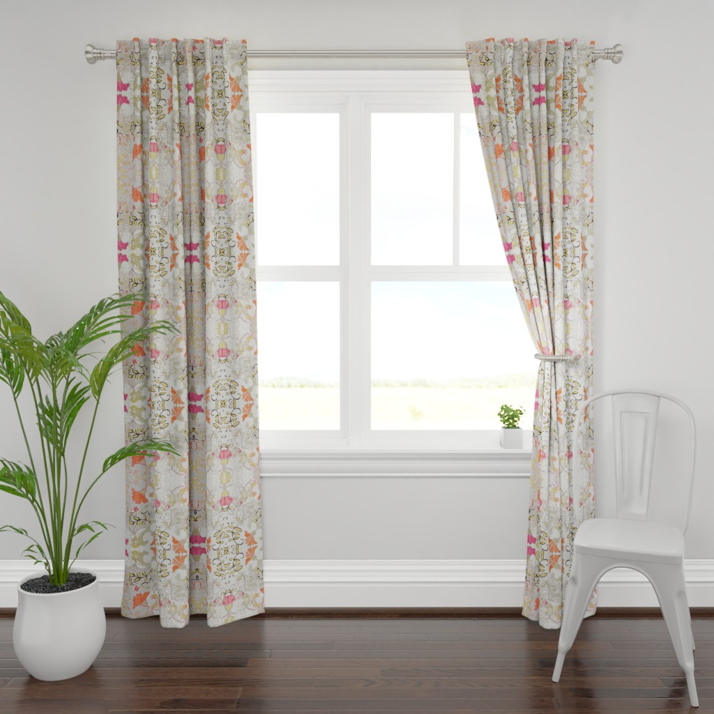Plymouth Curtain Panel featuring Orange and Berry Bouquet by maria_pezzano