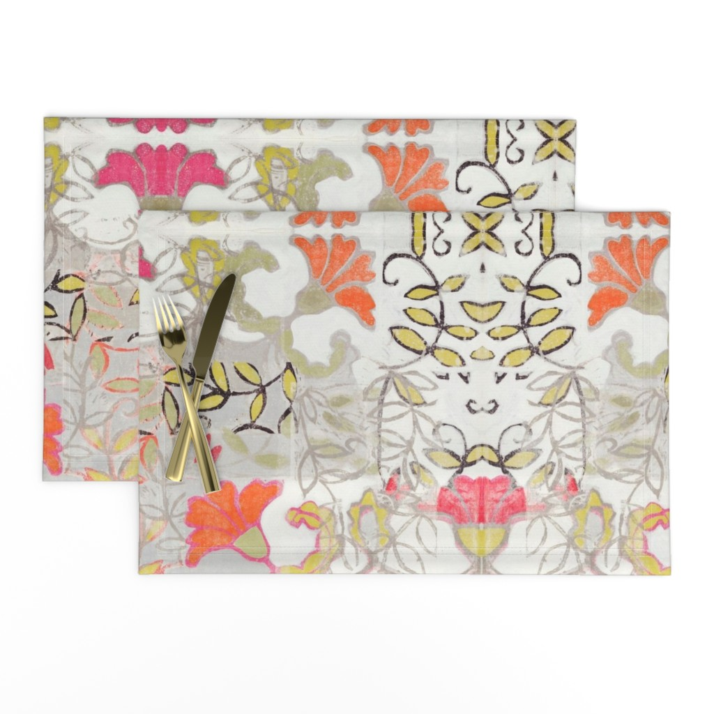 Lamona Cloth Placemats featuring Orange and Berry Bouquet by maria_pezzano