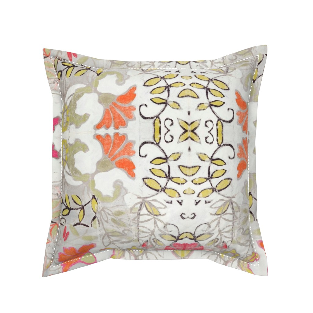 Serama Throw Pillow featuring Orange and Berry Bouquet by maria_pezzano