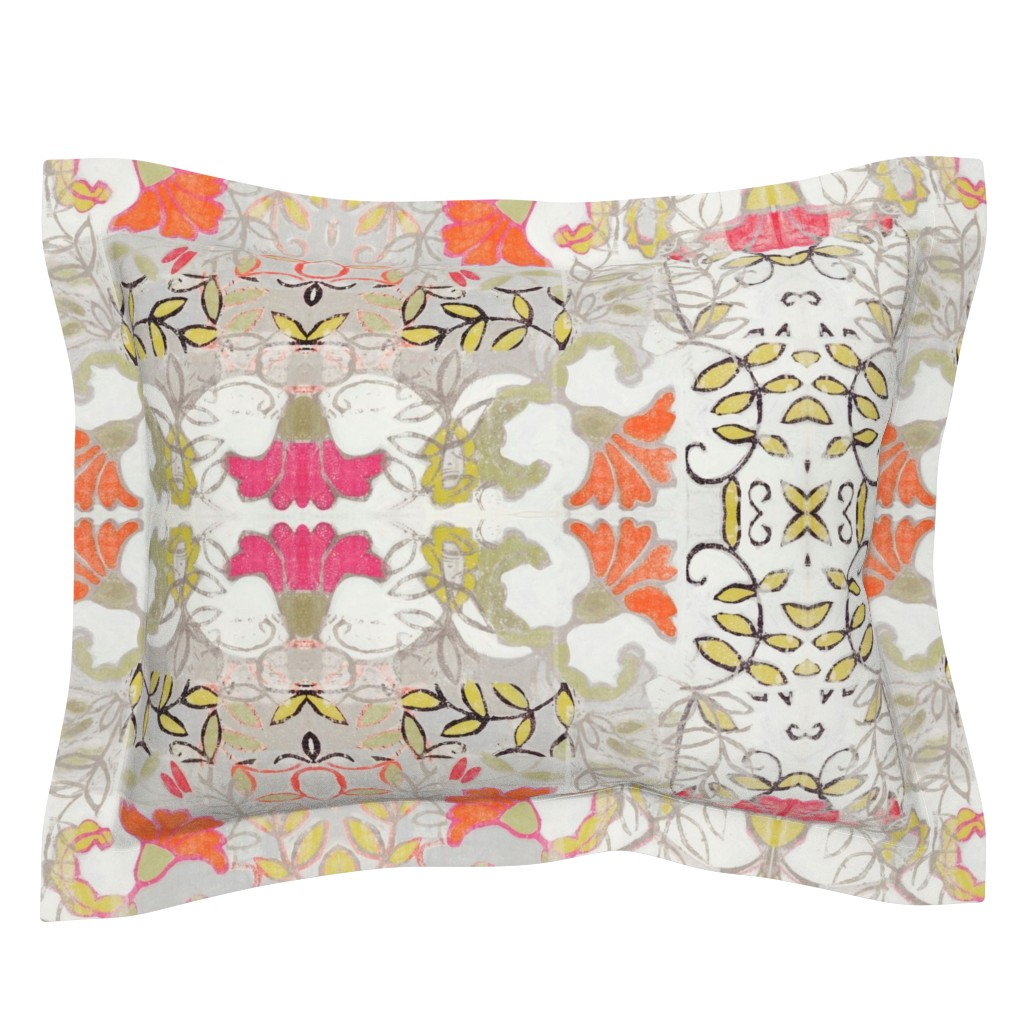 Sebright Pillow Sham featuring Orange and Berry Bouquet by maria_pezzano