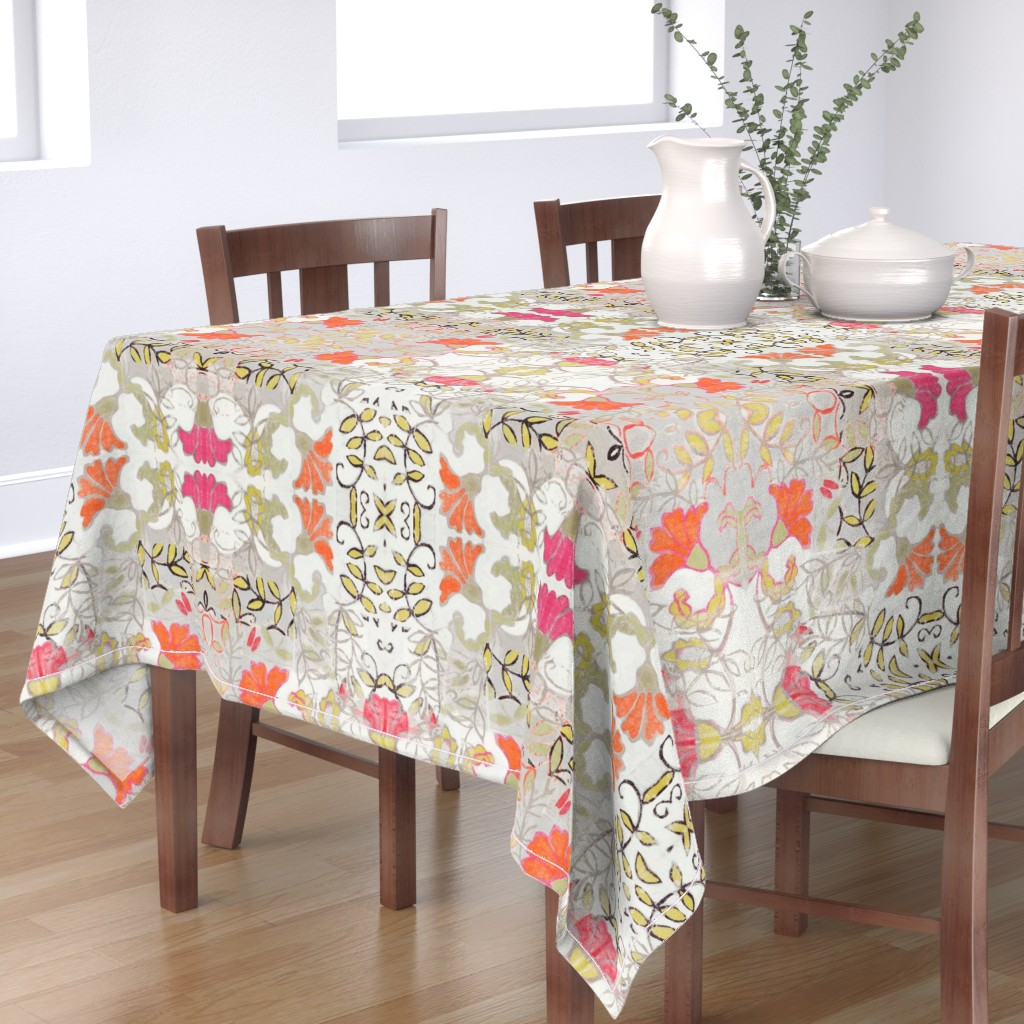Bantam Rectangular Tablecloth featuring Orange and Berry Bouquet by maria_pezzano