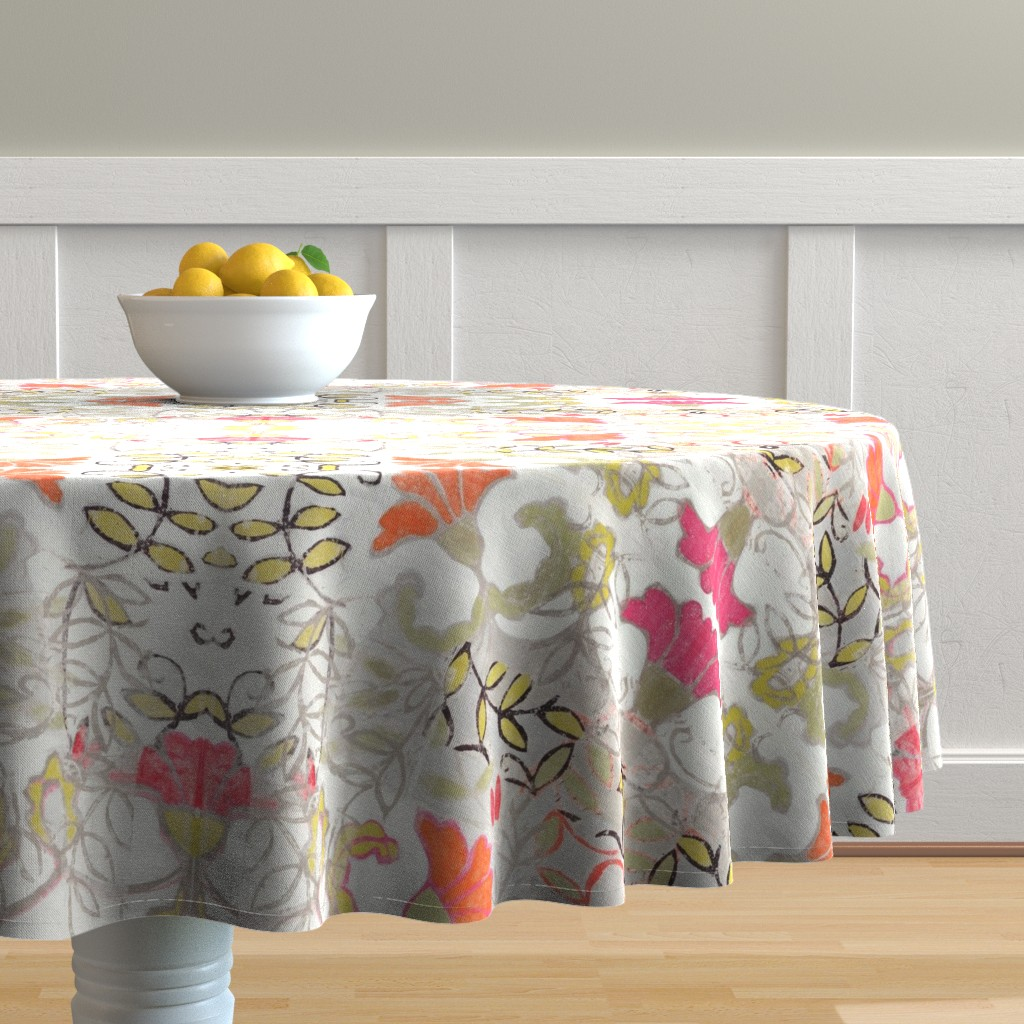 Malay Round Tablecloth featuring Orange and Berry Bouquet by maria_pezzano