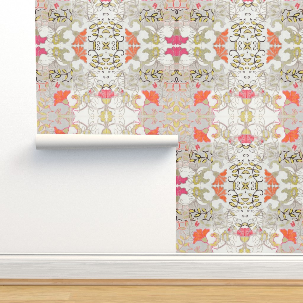 Isobar Durable Wallpaper featuring Orange and Berry Bouquet by maria_pezzano