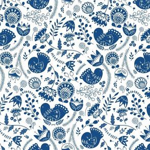 Birdie toile classic blue