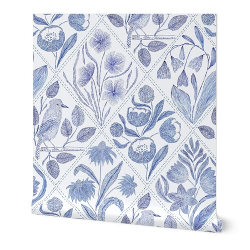Blue florals and bird Toile de Jouy  735 mm x 900 mm repeat