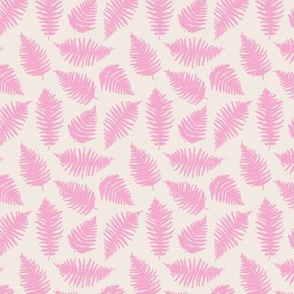 Small fern forest sweet boho leaves nature lovers nursery print pink blush