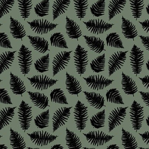 Small fern forest sweet boho leaves nature lovers nursery print camo army green winter