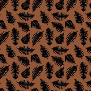 Small fern forest sweet boho leaves nature lovers nursery print rust copper black winter