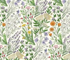 Wildflowers Lavender, chamomile, Calendula, Red Clover, cornflower, Dandelion, elderflower, Rosehip, bee 422mmxH591mm