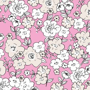 English garden vintage blossom flowers and leaves summer design pink white beige