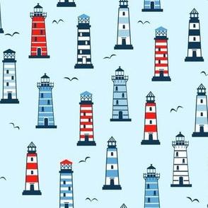 Lighthouses on blue