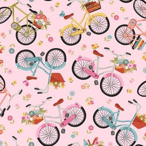 Bicycles on pink