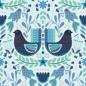 Chicken and Fish Folk Art Pattern Blue, Birds of Paradise