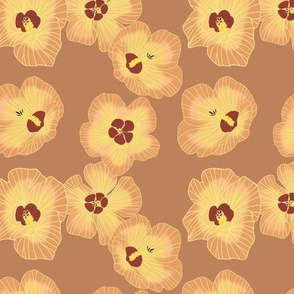 Smaller scale-hau flowers on tan